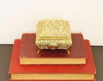 vintage ornate gold metal trinket box