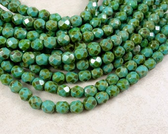 Czech Beads, 6mm Czech Glass Fire Polished Beads, Picasso Beads, 6mm Faceted Round Beads - Turquoise Picasso (FP6/SM-T6313) - Qty 25