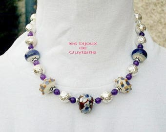 Necklace in jade and glass stones