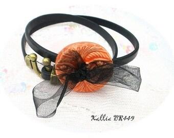 Orange ceramic custom black leather bracelet * Kallia BR449 *.