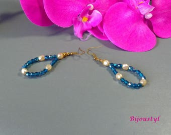 Beautiful earrings - ivory pearls - indicolite blue faceted beads