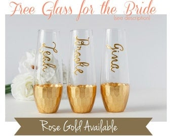 Personalized Stemless Champagne Flutes, Personalized Bridesmaid Gifts, Stemless Champagne Flutes, Your Choice Rose Gold or Gold Dipped Flute