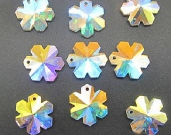 5 AB Iridescent Snowflake Chandelier Crystals 20mm ONE HOLE Beads