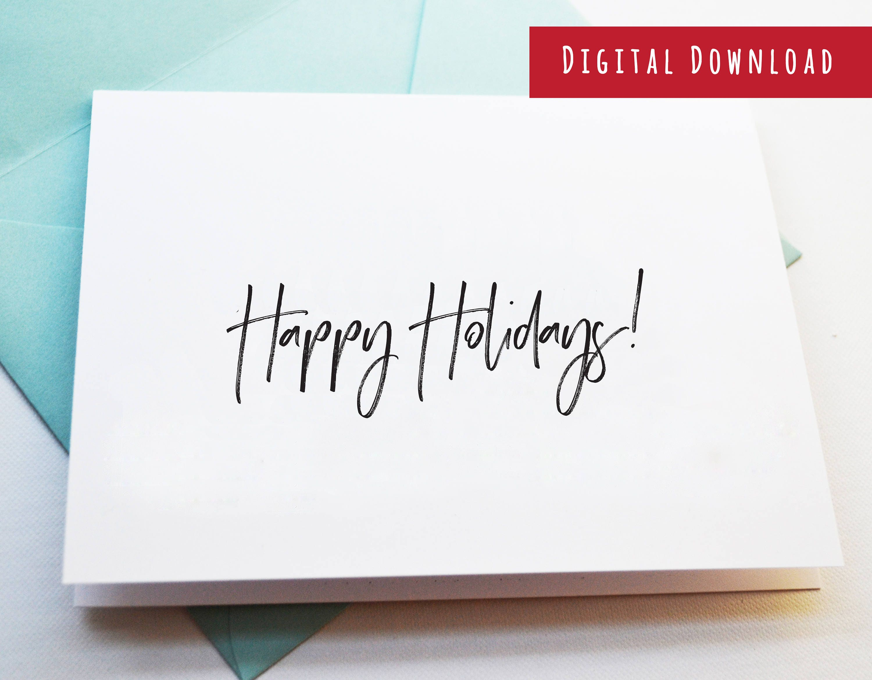 PRINTABLE Happy Holidays Card, Print at Home Happy Holidays Card ...