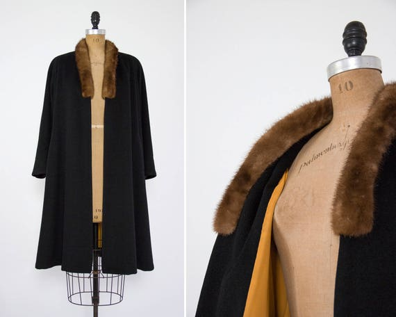 vintage 1940s swing coat | 50s opera coat | 40s winter coat | 1950s overcoat | black wool swing coat fur collar