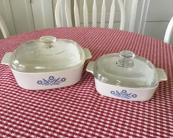 Vintage Corning Ware Blue Cornflower Baking Dishes * Square 1 and 2 Quart Casseoles with Lids  * Storage Containers