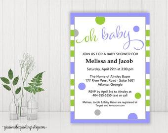 Oh Baby Shower Invitation, Couples Baby Shower, Gender Neutral Baby Shower Invite, Printable, Digital