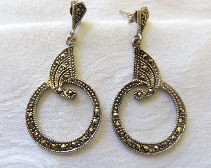 Art Deco Marcasite Earrings, Sterling Silver Pierced Earrings, Vintage Art Deco Jewelry
