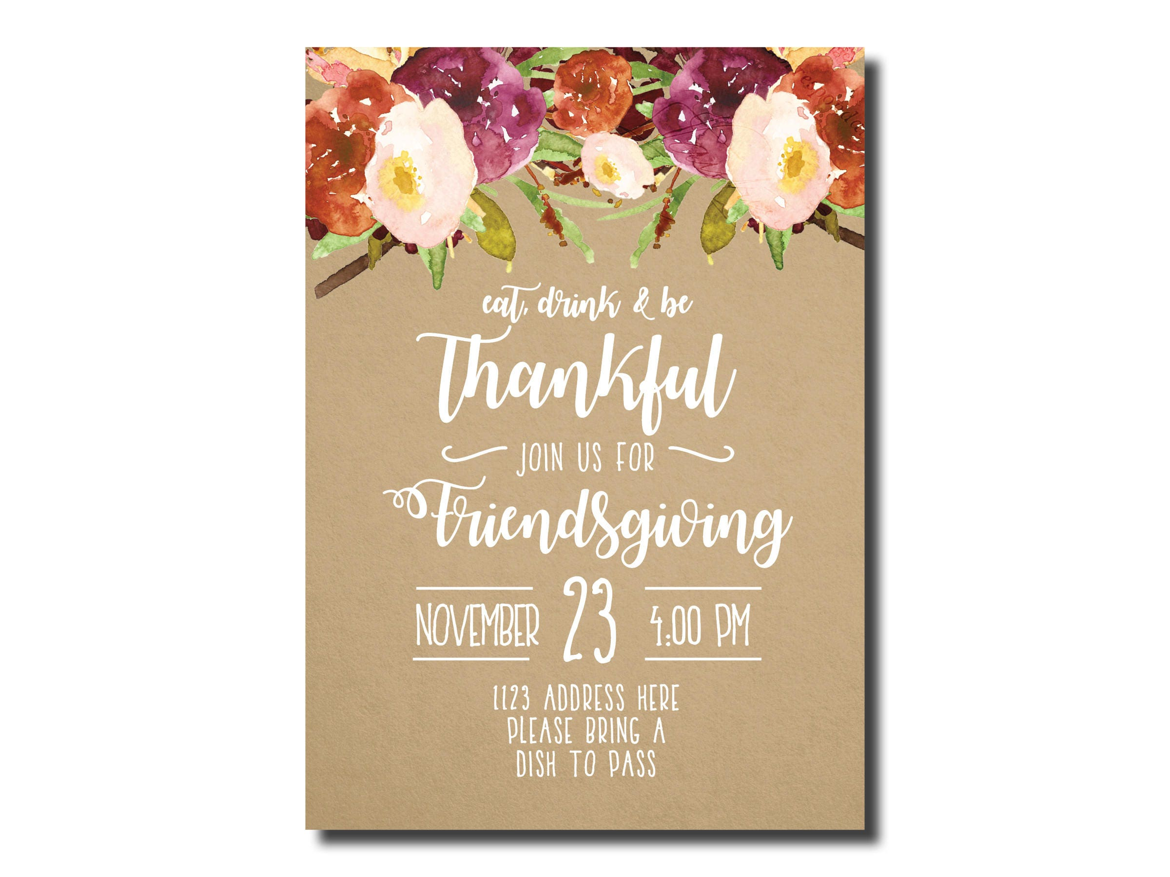 Friendsgiving Invitation Thanksgiving Invitation