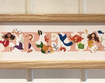 Mermaid Door Plaque - Children's / Kids / name sign / Illustration