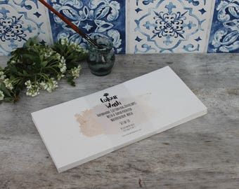 Watercolour wash handmade envelopes, hand painted wedding watercolour stationary, blue and beige envelopes | DL envelopes, Set of 10