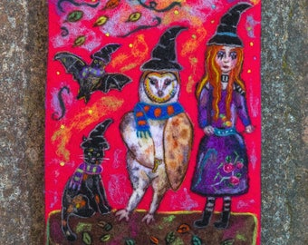THE MAGIC CONJURING, Original Art, Wool Painting, Needle Felted Art, Folk Art, Whimsical Art, Witch Art, Witch and Cat, Barn Owl, Bat, Cute
