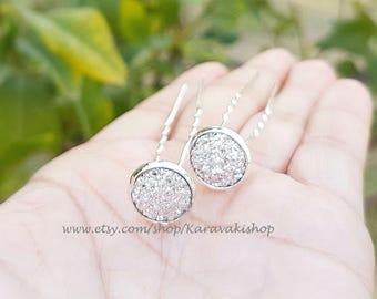 Silver druzy wedding hair pins,Silver Bridal bridesmaid hair pins,Wedding silver hair accessories,U shape silver hair pin,,Silver wedding
