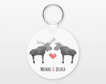 Moose Keychain, Couple Keychain Personalized Keychain, Boyfriend Keychain Girlfriend Keychain, Couple Key Chain, Animal Keychain, Keyring
