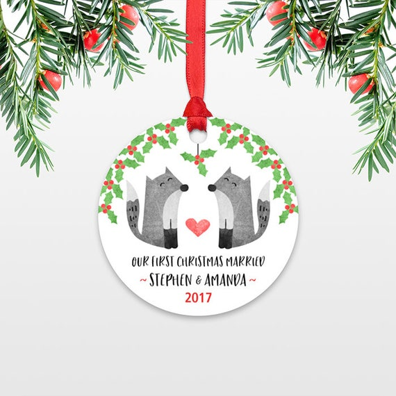 Fox Personalized First Christmas Ornament Couple, Our First Christmas Engaged, 1st First Christmas Married, First Christmas Together