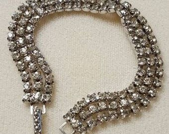 VINTAGE KRAMER Triple Strand RHINESTONE Bracelet