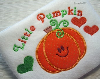Embroidery design, Little Pumpkin Applique, 2 sizes, nursery, child design, new baby, autumn, fall, thanksgiving
