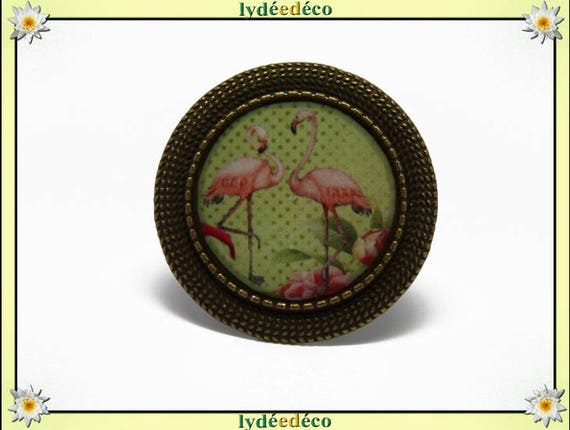 Retro ring vintage adjustable Flamingo, Flamingo Pink green blue flower lime resin round 20mm brass bronze