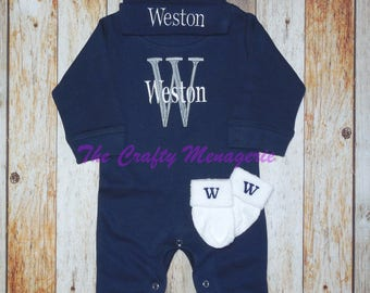 Baby Boy Coming Home Outfit, Boy Romper Coming Home Outfit, Baby Boy Layette, Personalized Boy Romper,  WITH Hat, Optional Socks