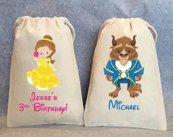"""20- Beauty and the Beast Party, Beauty and the Beast Birthday, Belle, Beast, Beauty and the Beast party favor bags, 5""""x8"""""""