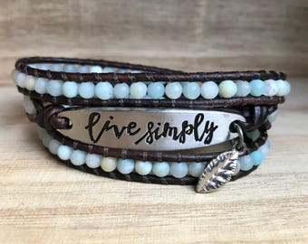 LIVE SIMPLY Wrap Bracelet, Amazonite Bracelet, Triple Wrap Bracelet, Bohemian Bracelet