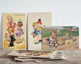 old paper POSTCARDS - vintage 32 post cards, paper ephemera, paper collectibles, postcard set, cardboard collage