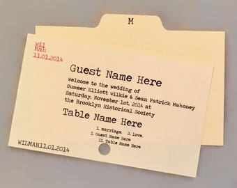 Catalog Card Wedding Place Cards/Escort Cards (set of 25) for Literary Wedding / Bookish Shower / Bookworm Bar Mitzvah