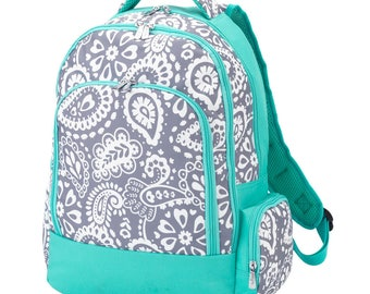 4 Piece set in Parker Paisley Design. Backpack with Matching Lunch Bag, Pencil Case, ID case, Hair Bow. Buy any or all of this matching set!