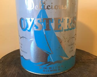 Vintage Gallon Oyster Tin