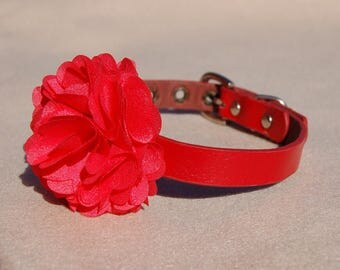 Red flower dog collar,fit 12inch~14'' dog neck.Perfect gift for dog ,cute red Leather dog collar.Afternoon tea dog collar.dog wedding collar
