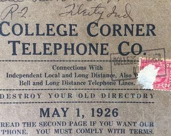 Vintage College Corner Ohio Telephone Book, May 1926, Amazing Ads, Hoosier Cabinets, Gravestones, Washing Machines, Stores, Markets, Indiana