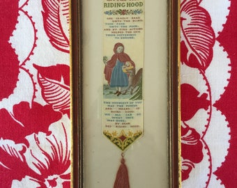 Vintage Victorian Silk Banner Little Red Riding Hood, Bookmark, Framed, C Stevens, Coventry,