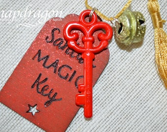 Santa's Magic keys , wooden tag with key, bell and gold tassel
