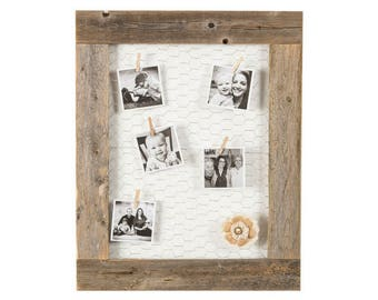 Barnwood Picture Frame Chicken Wire Photo Display | 27 x 23 Inch - Natural