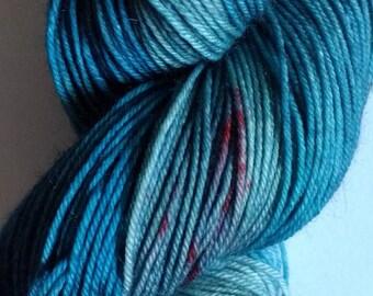 Lake Flower hand dyed superwash merino nylon sock 4ply