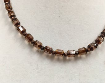 Plum Purple Clear Crystal Beaded Necklace. Hand-crafted & One of a kind.