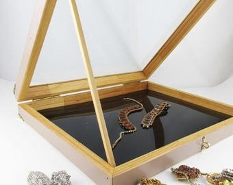 Tan Wood Display Case With Brass Corners - Large Display Case Glass Top - For Shop or Marketplace - Hinged Display - Padlock Adaptable Latch