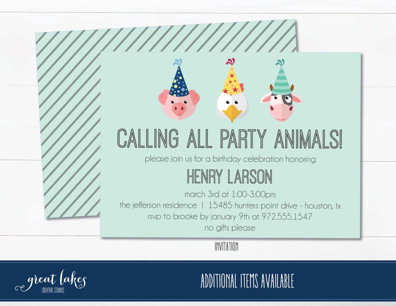 Barnyard Birthday Thank You Cards, Farm Animal Party Thanks, Folded ...