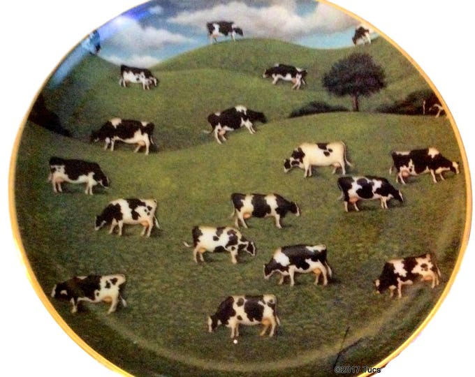Modern Farmhouse Decor, American Folk Art, Hillside Herd, Porcelain Wall Hanging, Rare Vintage Plate, Lowell Herrero, Franklin Mint