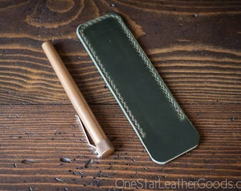 Pen Sleeve size large - hand stitched Horween leather - forest green