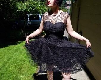 Black Lace Goth 80's Dress