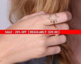 SALE 20% OFF Gold ring, star of David ring, Magen David ring, Jewish jewelry, jewish star - 20080