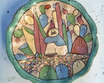 "Small 4"" TONALA antique Art Deco mexican folk art pottery plate"