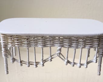 """Dollhouse Miniature 1"""" Scale White Wicker Coffee Table by Leilani Warling (BF)"""