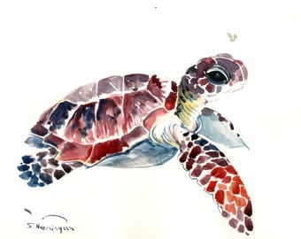 Sea Turtle Artwork  Original watercolor painting, 14 X 11 in, fish lover art, fish wall painting, turtle art