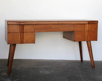 SOLD - Wooden Writing Desk with Tapered Legs Mid Century Modern Oak Desk Mid Century Vintage Modern Minimal