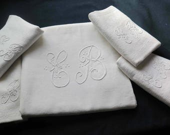 Beautiful Set of White Damask Tablecloth and the 4 Napkins. Monogram -E-B- Antique French Embroideries