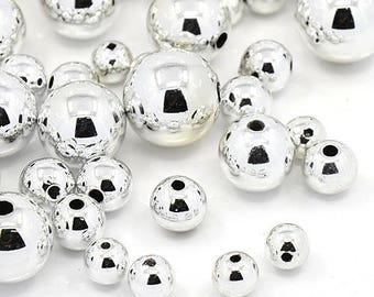 set of 50 acrylic 4-10mm silver beads