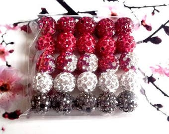 Set of 25 beads shamballa 10mm Crystal, red and white - gradient