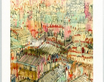PARIS ROOFTOPS, Signed Print from Watercolour Painting, Sacre Coeur Montmartre, Clare Caulfield, French Wall Decor, Paris Art Print,Drawing